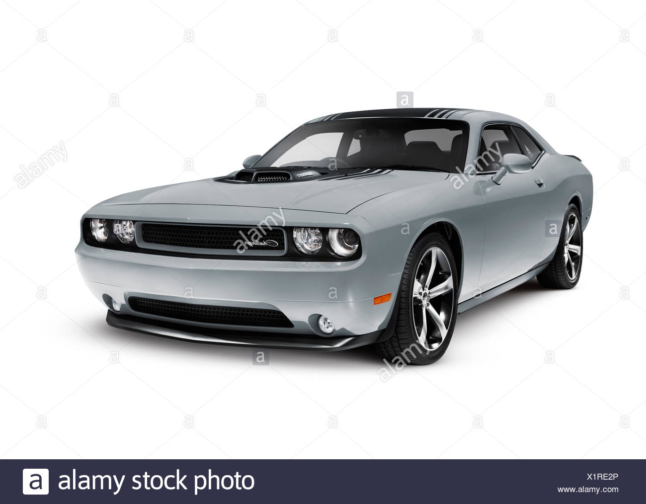 Gray 2014 Dodge Challenger muscle car - Stock Image