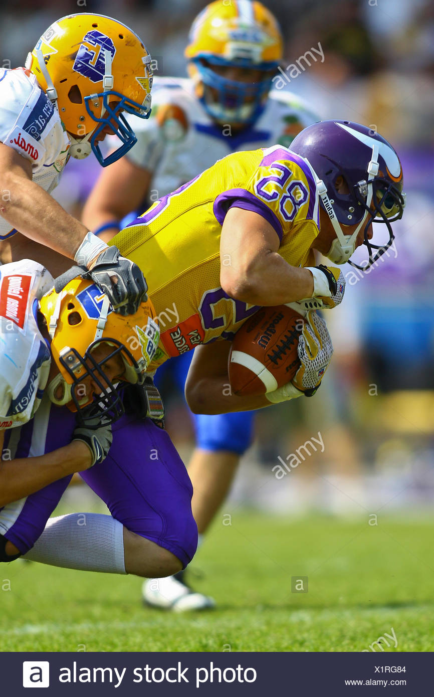 American Football, WR Valentin Schulz, No. 85 of the Vikings, being tackled; Vienna Vikings win against Graz Giants 19:14 - Stock Image