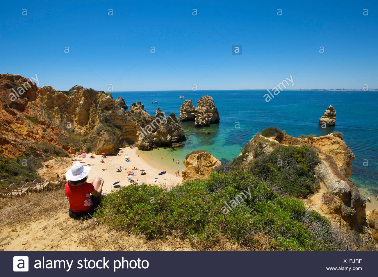 Praia do Camilo near Lagos, Algarve, Portugal, Europe - Stock Image