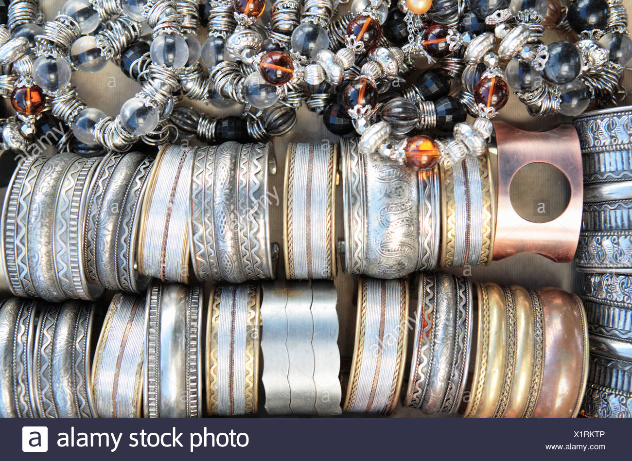 Close up of Metal bracelets Grahamstown Eastern Cape Province South Africa - Stock Image