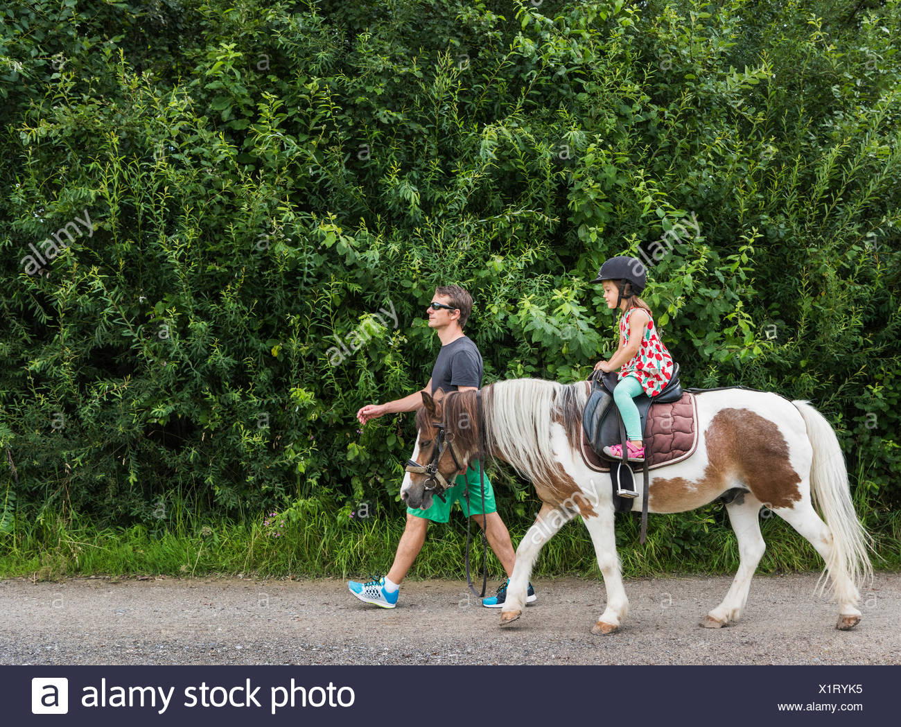 Side view of father guiding daughter riding horse - Stock Image