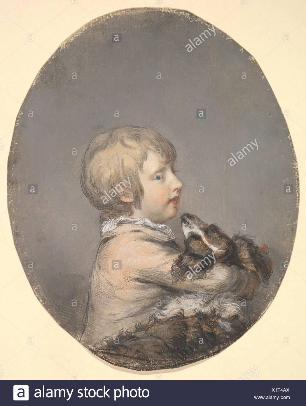 William Evelyn of St Clere, Kent, Holding a Spaniel. Artist: Hugh Douglas Hamilton (Irish, Dublin 1739-1808 Dublin); Sitter: William Evelyn (British, - Stock Image