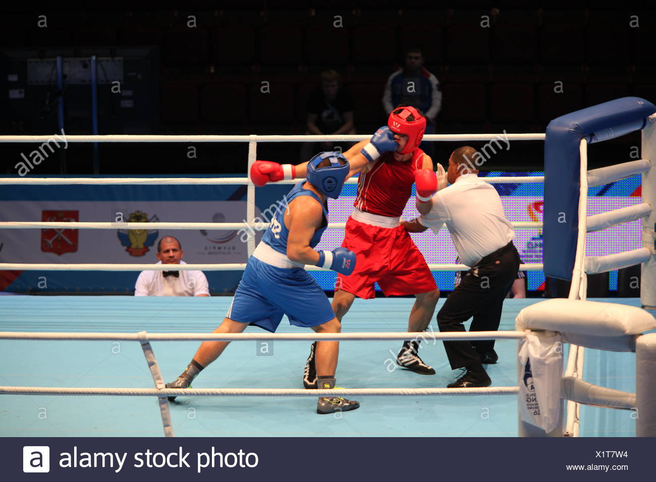 boxing hit jab and knockout - Stock Image