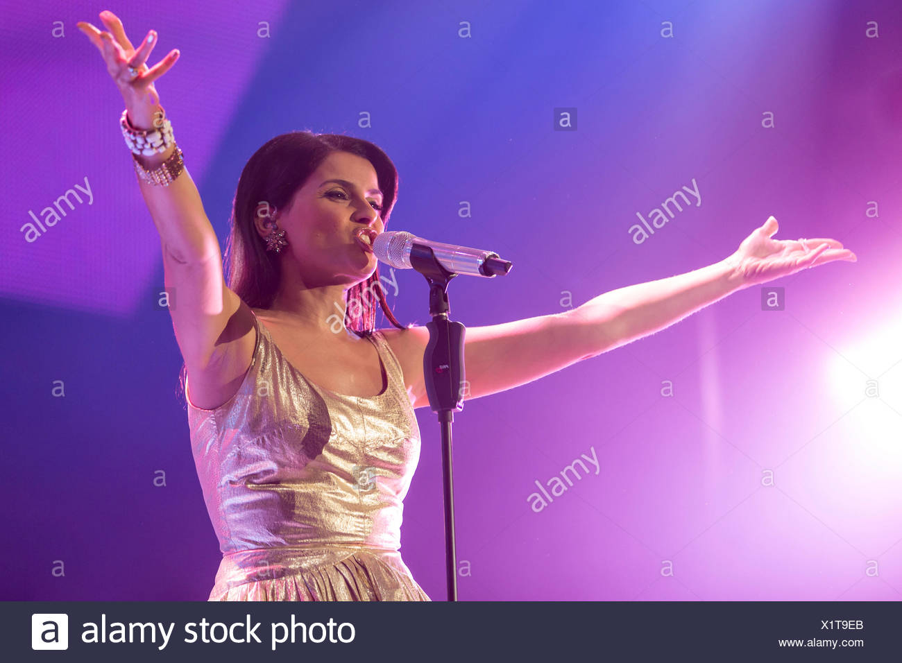 The Portuguese-Canadian singer Nelly Furtado performing live at Energy Stars For Free event, Hallenstadion Zuerich hall, Zurich - Stock Image