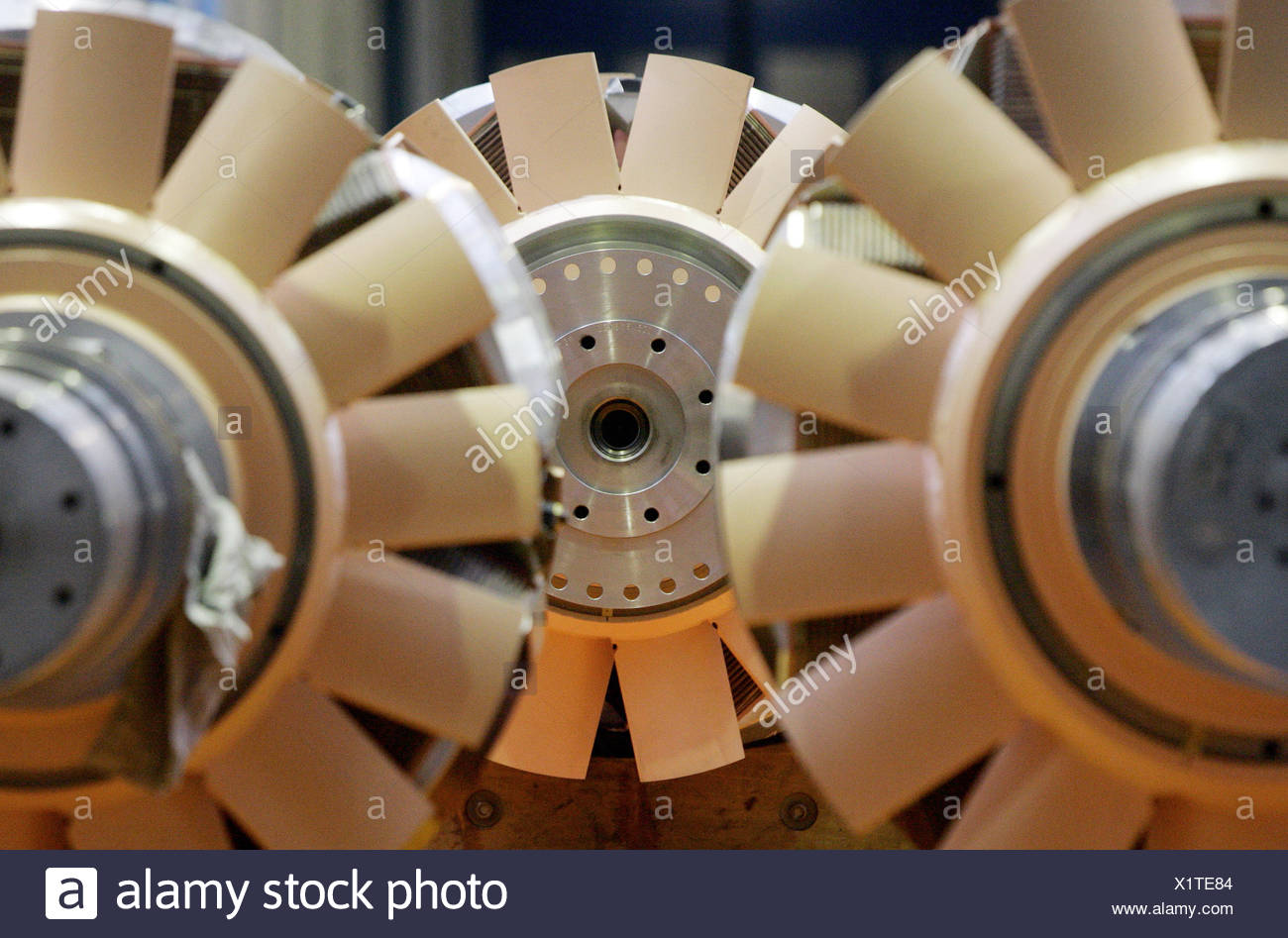 Berlin, Germany, view of rotors for motors from Siemens AG - Stock Image