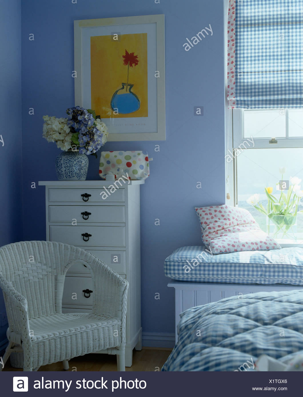 Phenomenal White Chair And Chest Of Drawers In Blue Country Bedroom Ibusinesslaw Wood Chair Design Ideas Ibusinesslaworg