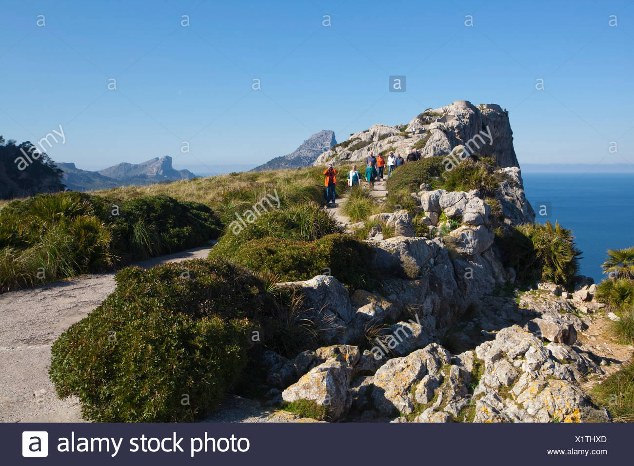 Look-out point of Mirador de Mal Pas, on the road to Cap Formentor, Majorca, Balearic Islands, Spain, Mediterranean Sea, Europe - Stock Image