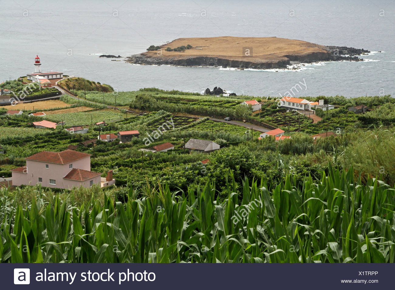 view towards Topo-point (with lighthouse) and the island of Topo at the eastern tip of Sao Jorge - Stock Image
