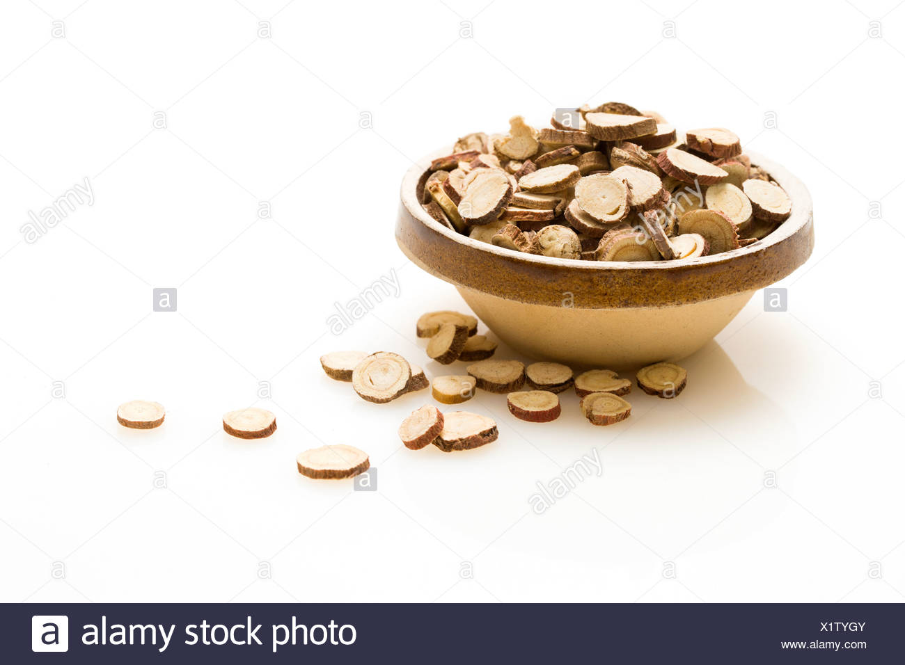 Traditional Chinese medicine liquorice root - Stock Image