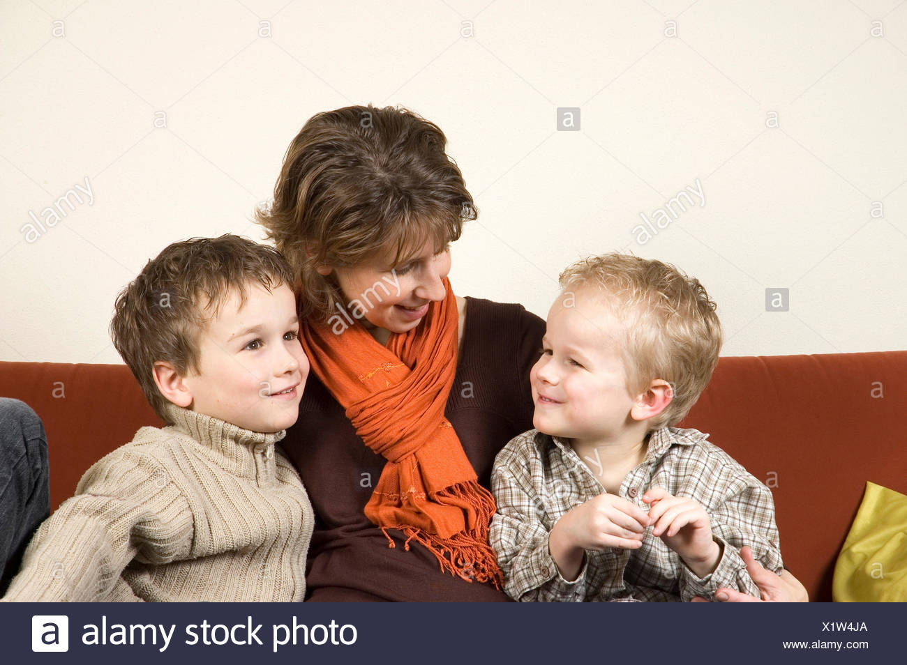 Mother And Two Sons 2 - Stock Image