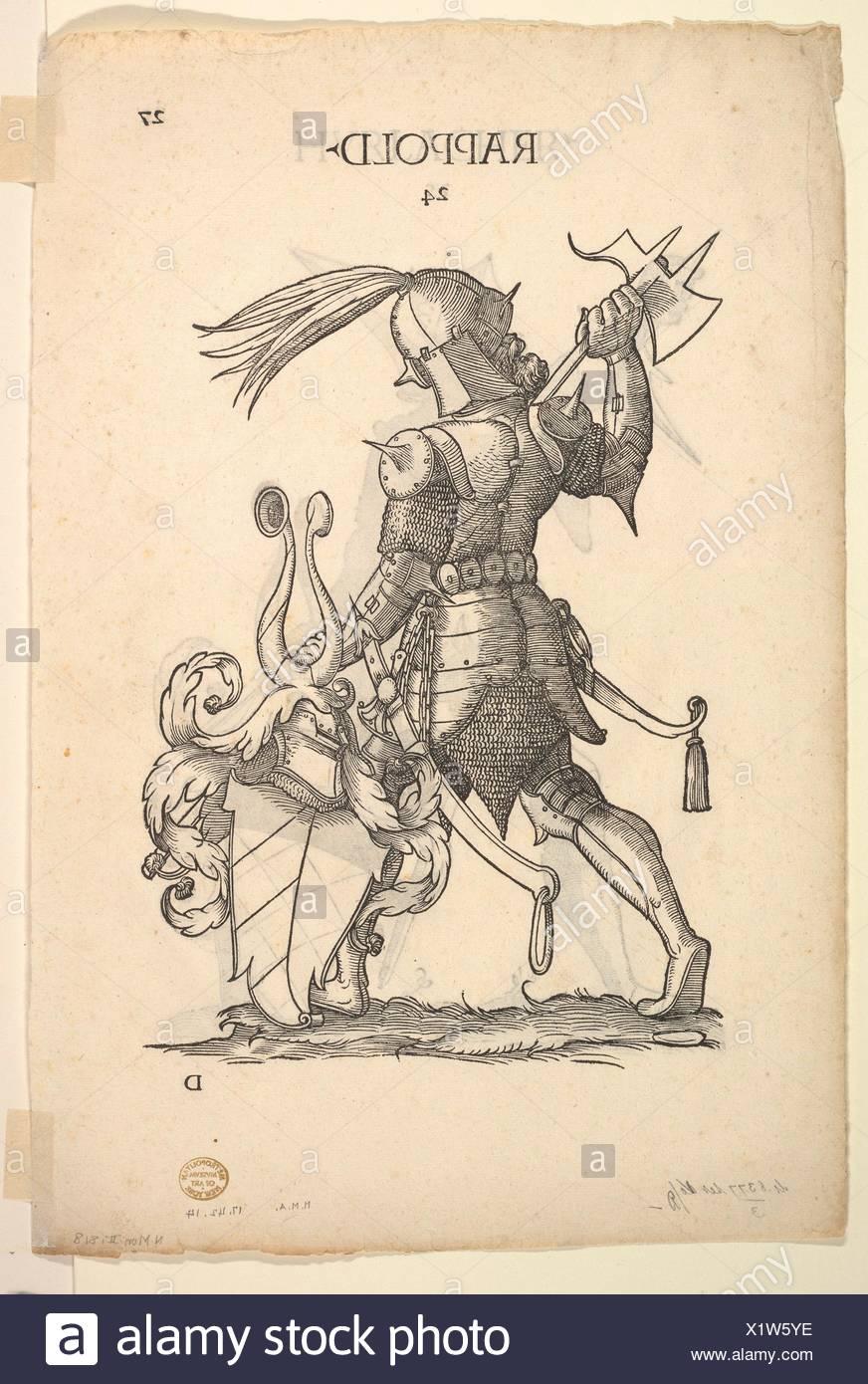 Hurlacher (recto) and Rappold (verso) Families, from Paul Hector Mair´s Bericht und anzeigen aller Herren Geschlecht der loblichen Statt Augspurg. Stock Photo