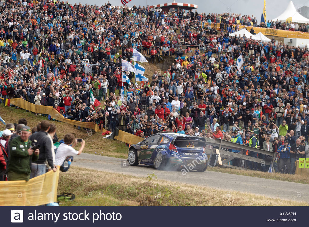 ADAC Rally Deutschland, special stage, Baumholder military training area, Petter Solberg, NOR, and co-driver Chris Patterson - Stock Image