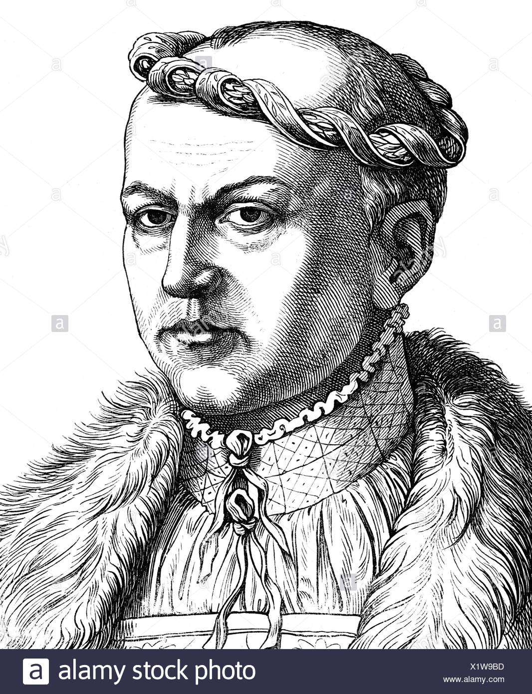 George 'the Bearded', 27.8.1471 - 17.4.1539, Duke of Saxony 12.9.1500 - 17.4.1539, portrait, wood engraving, 19th century, , Additional-Rights-Clearances-NA - Stock Image
