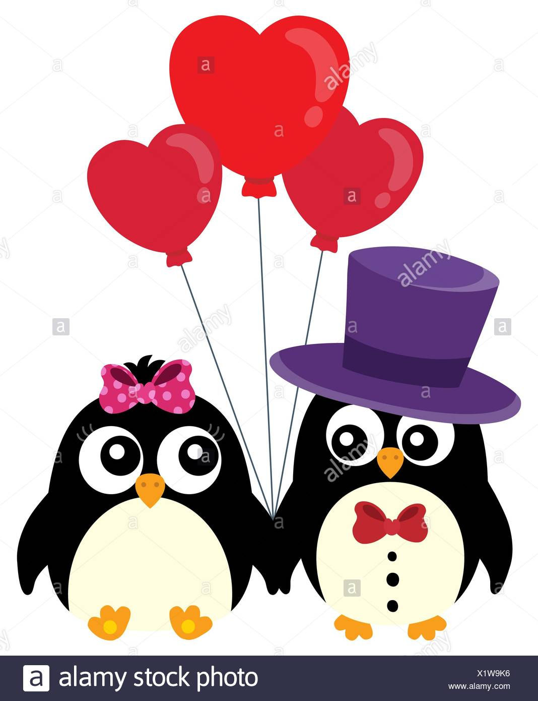 Valentine penguins theme image 1 - Stock Image