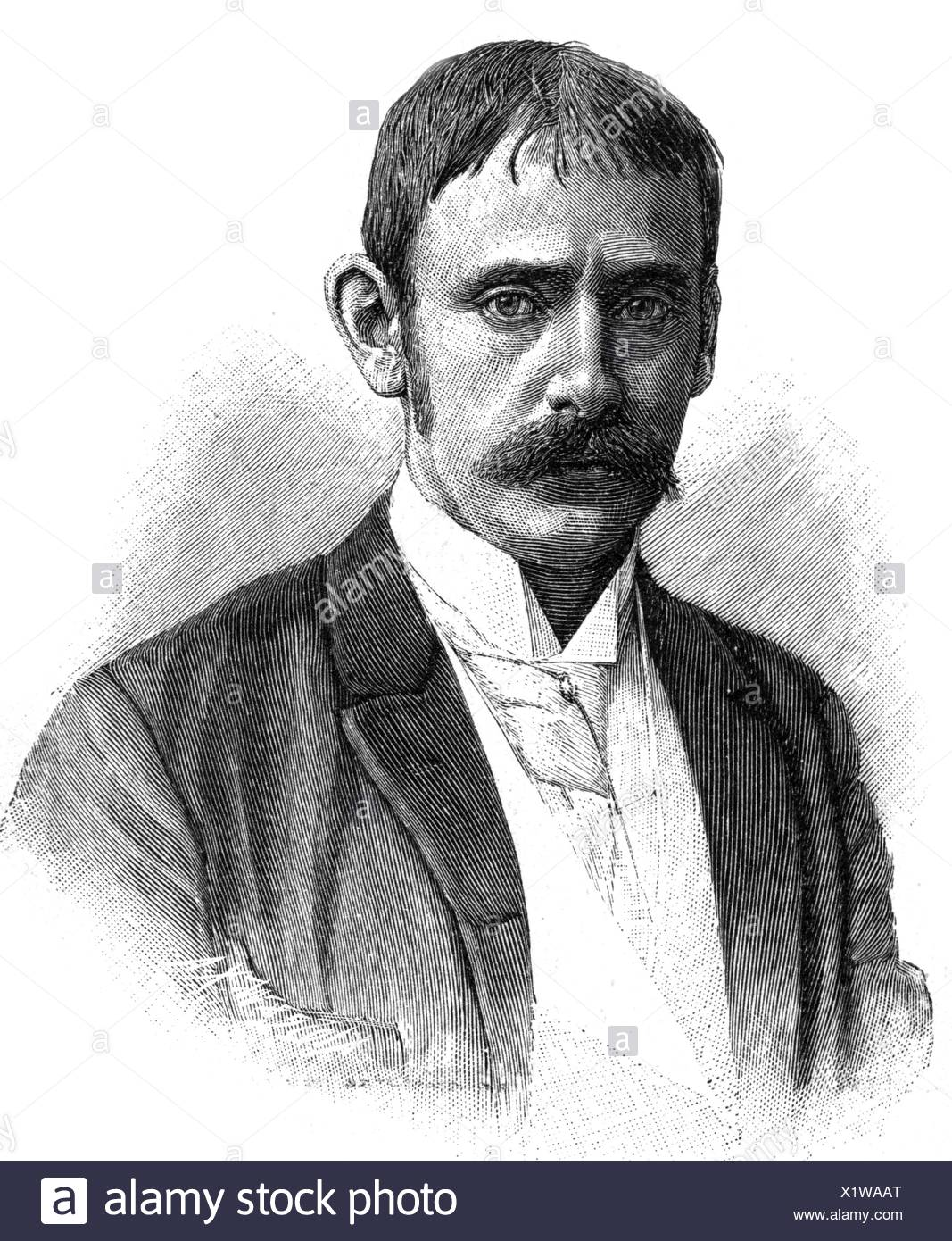 Peters, Carl, 27.9.1856 - 10.9.1918, German Africanist and colonial politician, president of the German East African company 1885 - 1888, portrait, late 19th century, Additional-Rights-Clearances-NA - Stock Image