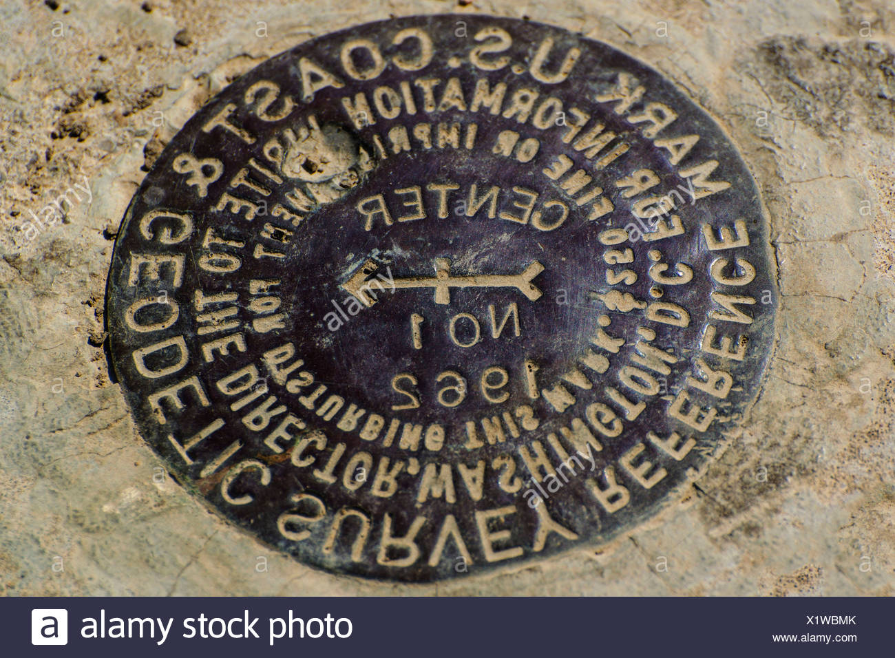 Actual, geographic, center, middle, South Dakota, USA, United States, America, marker - Stock Image