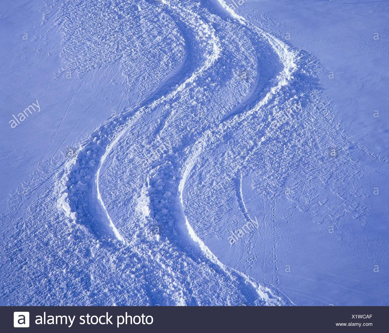 Snow inclination, ski tracks mountainside, snow, deep snow, sport, winter,