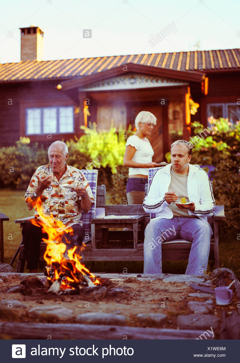 A barbecue in the garden Leksand Sweden 2002 - Stock Image