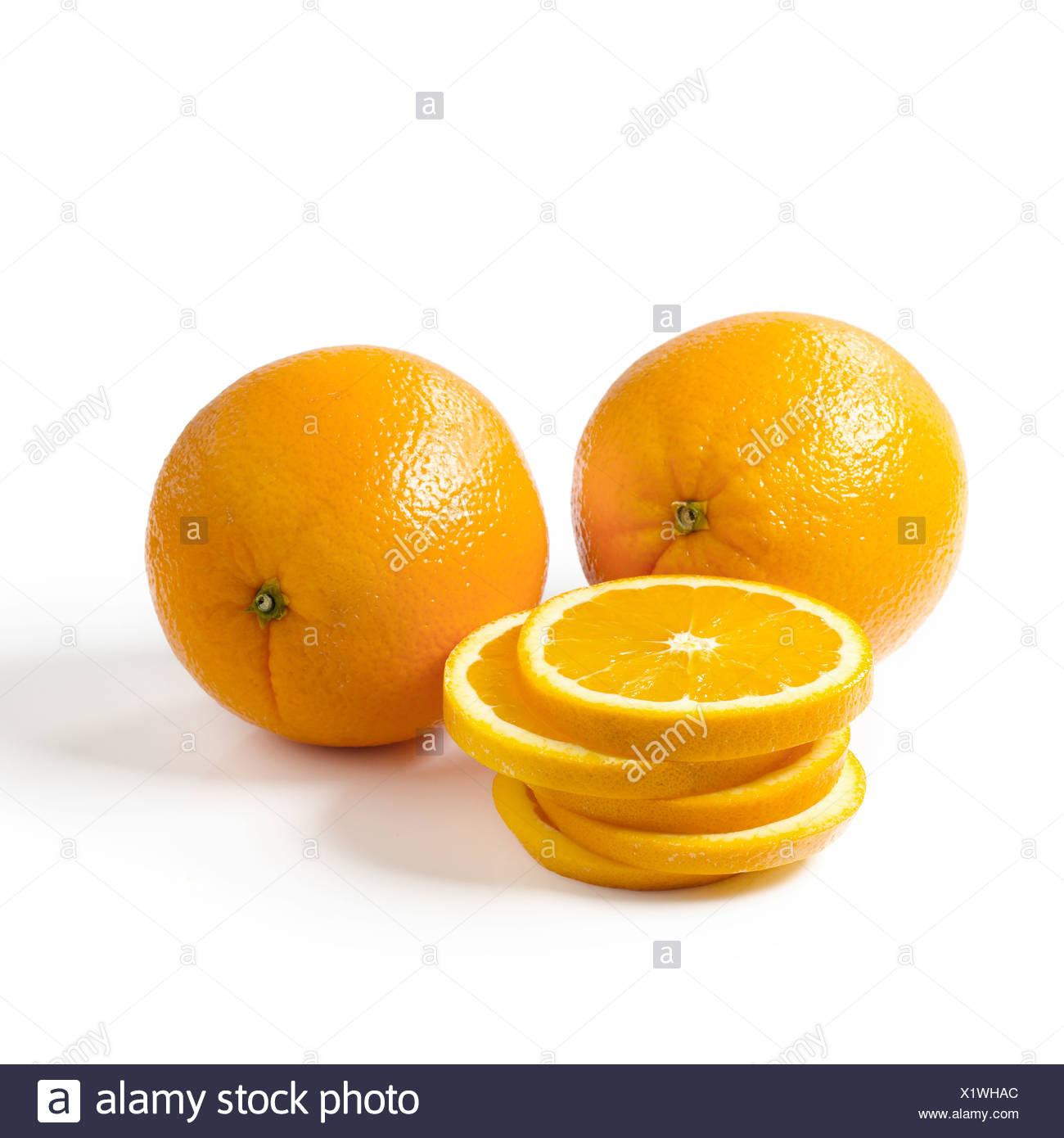 Oranges on a white background - Stock Image