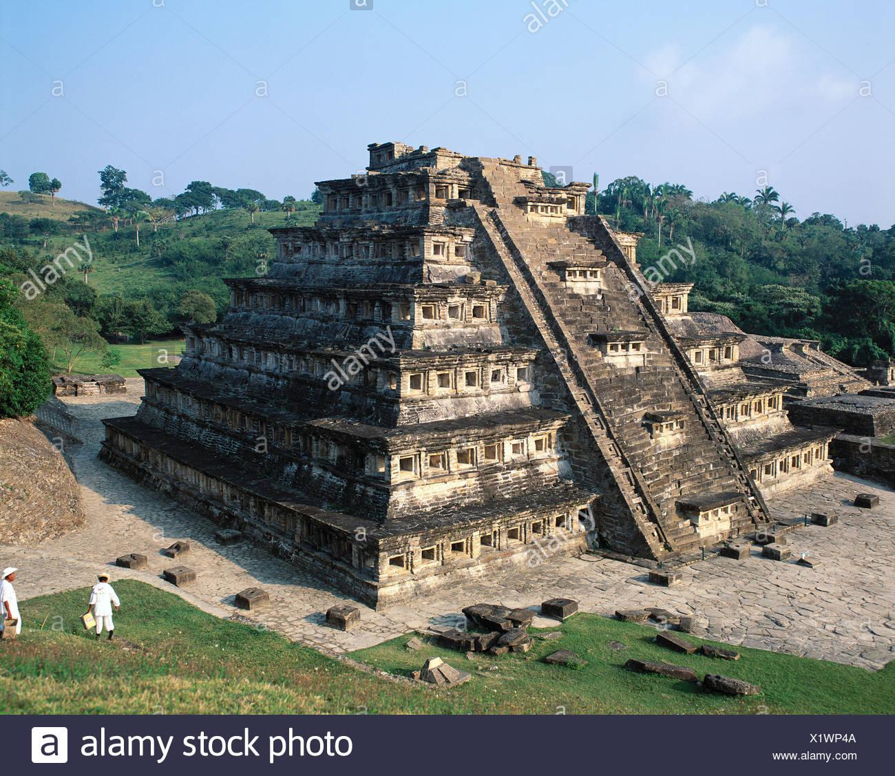 El Tajin culture Mexico Central America Latin America niches pyramid pyramid state Veracruz stair - Stock Image