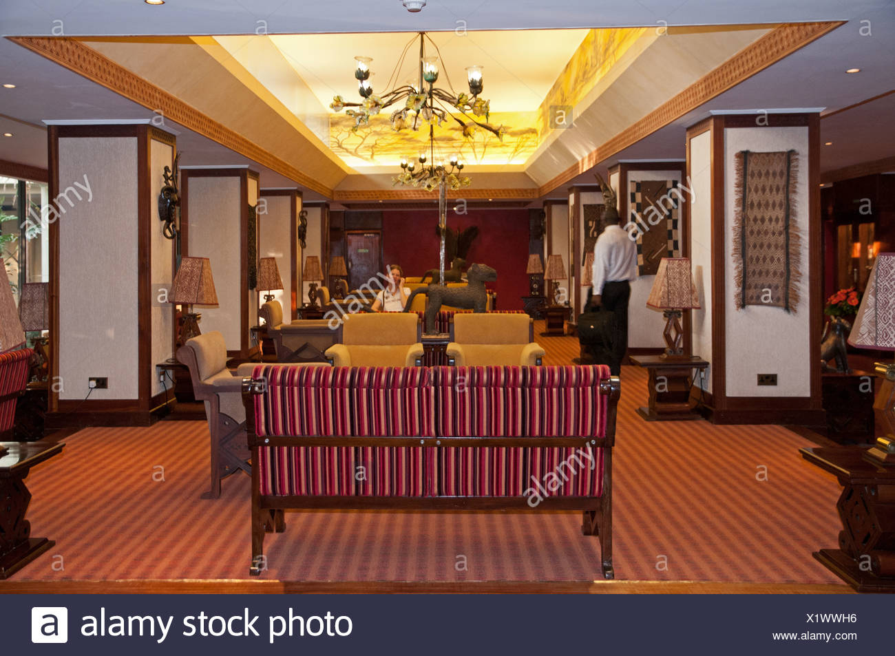 Inside the lobby of the Nairobi Serena Hotel Nairobi Kenya - Stock Image
