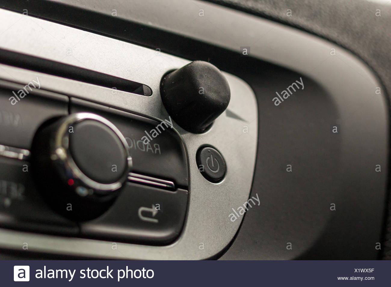 Closeup of a car radio - Stock Image