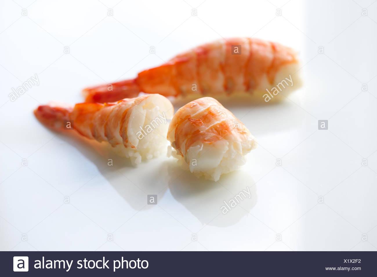 Fresh Shrimp Sushi Rice Raw Healthy Eating Seafood Sushi