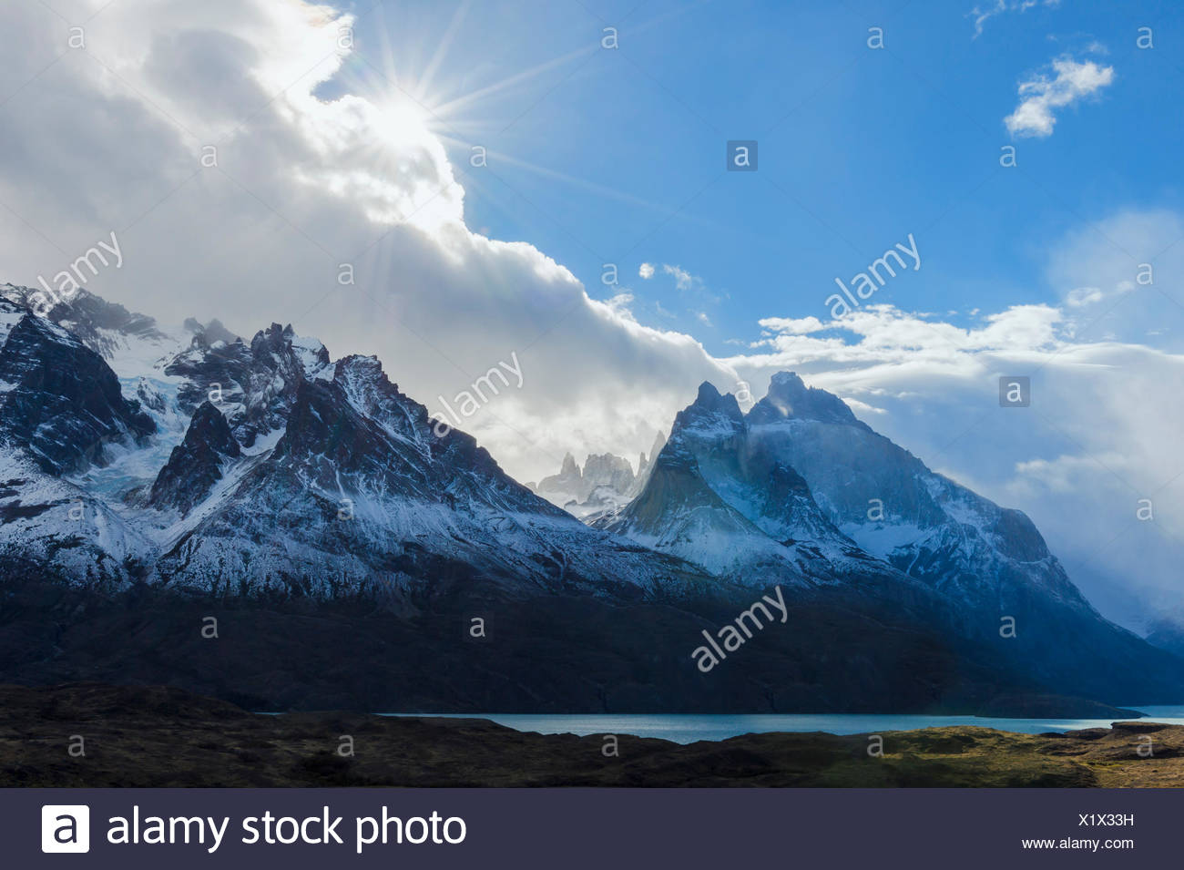 Cloud formations over Lago Nordenskjold, Torres del Paine National Park, Chilean Patagonia, Chile - Stock Image