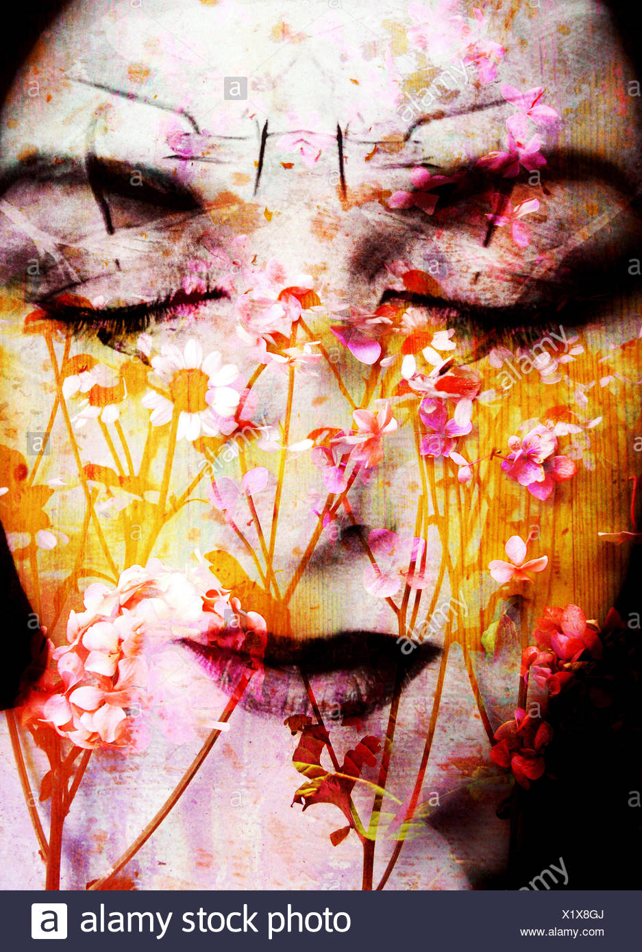 a montage of a portrait of a womans face with flowers and textures Stock Photo