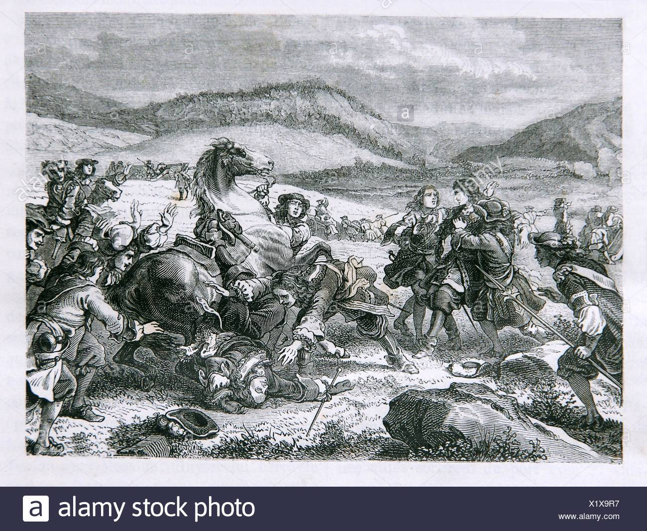 Death of Turenne at Salzbach in 1675 - Stock Image