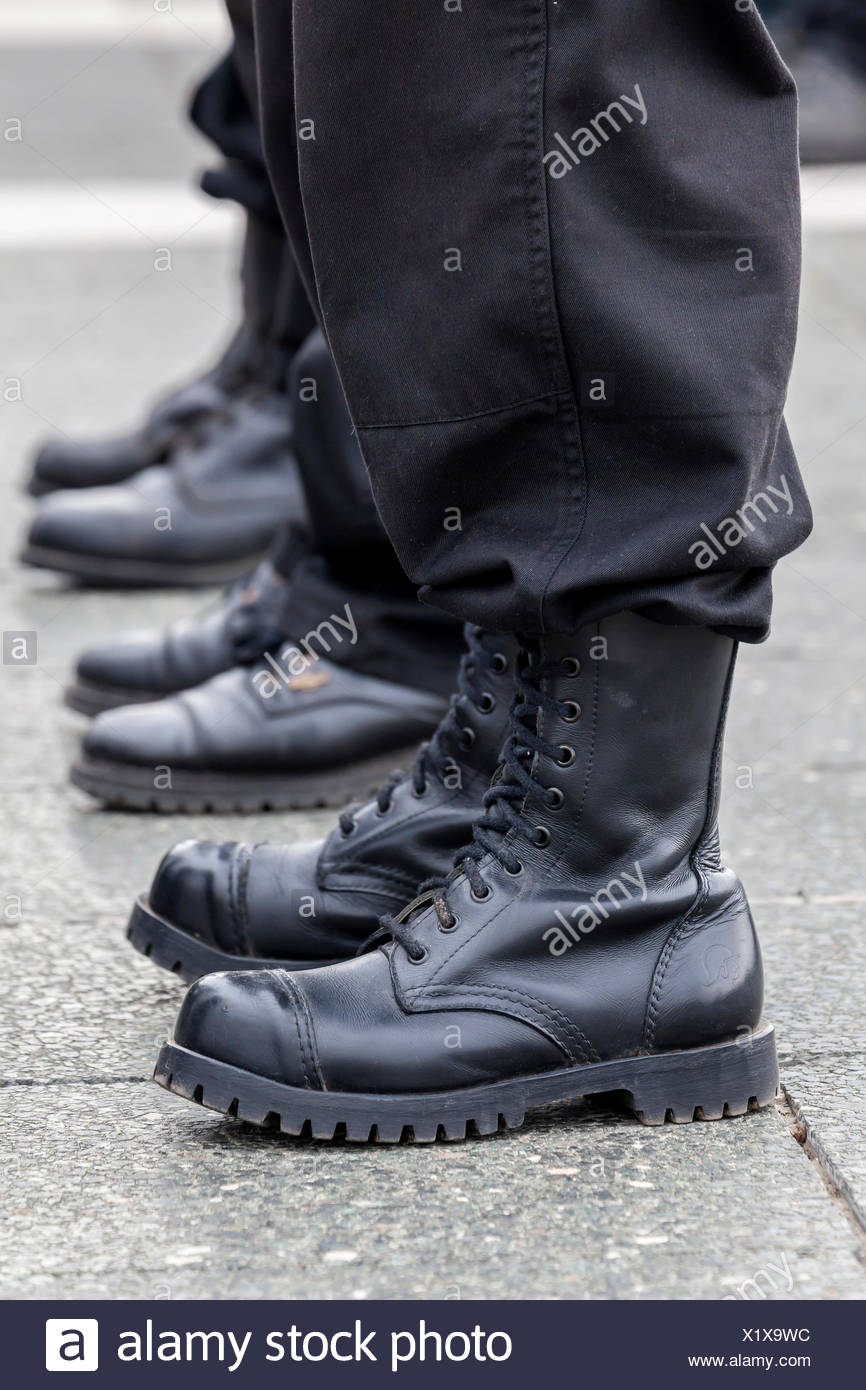 Members of a right-wing Hungarian party wearing combat boots, symbolic image for right-wing extremism, Budapest, Hungary - Stock Image
