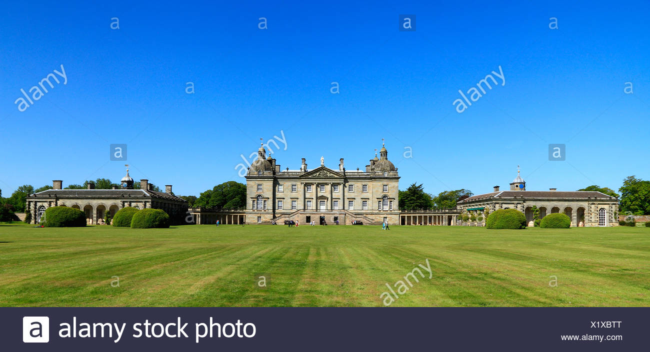 Houghton Hall, Norfolk, west front, England UK, Palladian mansion, mansions, English stately home, homes - Stock Image