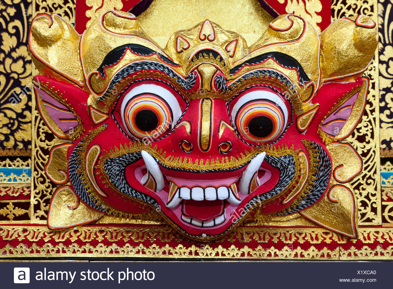 Colorful mask, demon, Ubud, central Bali, Indonesia, Southeast Asia - Stock Image