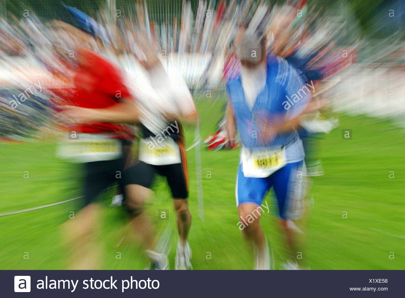 arrangement blurred effect no model release Powerman Zofingen runner running sports people Switzerland Eur - Stock Image