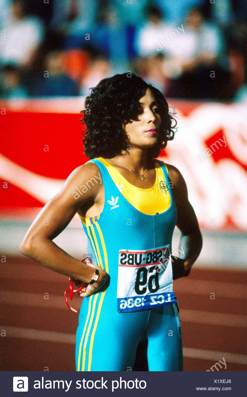 Griffith-Joyner, Florence, 21.12.1959 - 21.9.1998, American athlete (athletics), half length, meeting, Zurich, Switzerland, 1986, Additional-Rights-Clearances-NA - Stock Image
