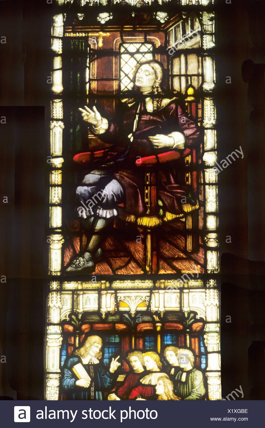 John Milton stained glass window St Margarets church Westminster London England UK portrait of 17th century English poet - Stock Image