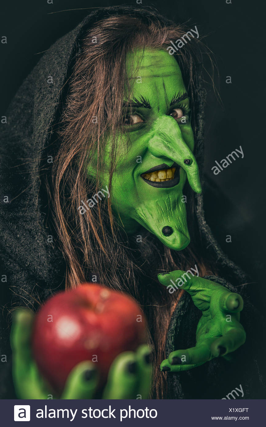 Evil witch with dirty teeth - Stock Image
