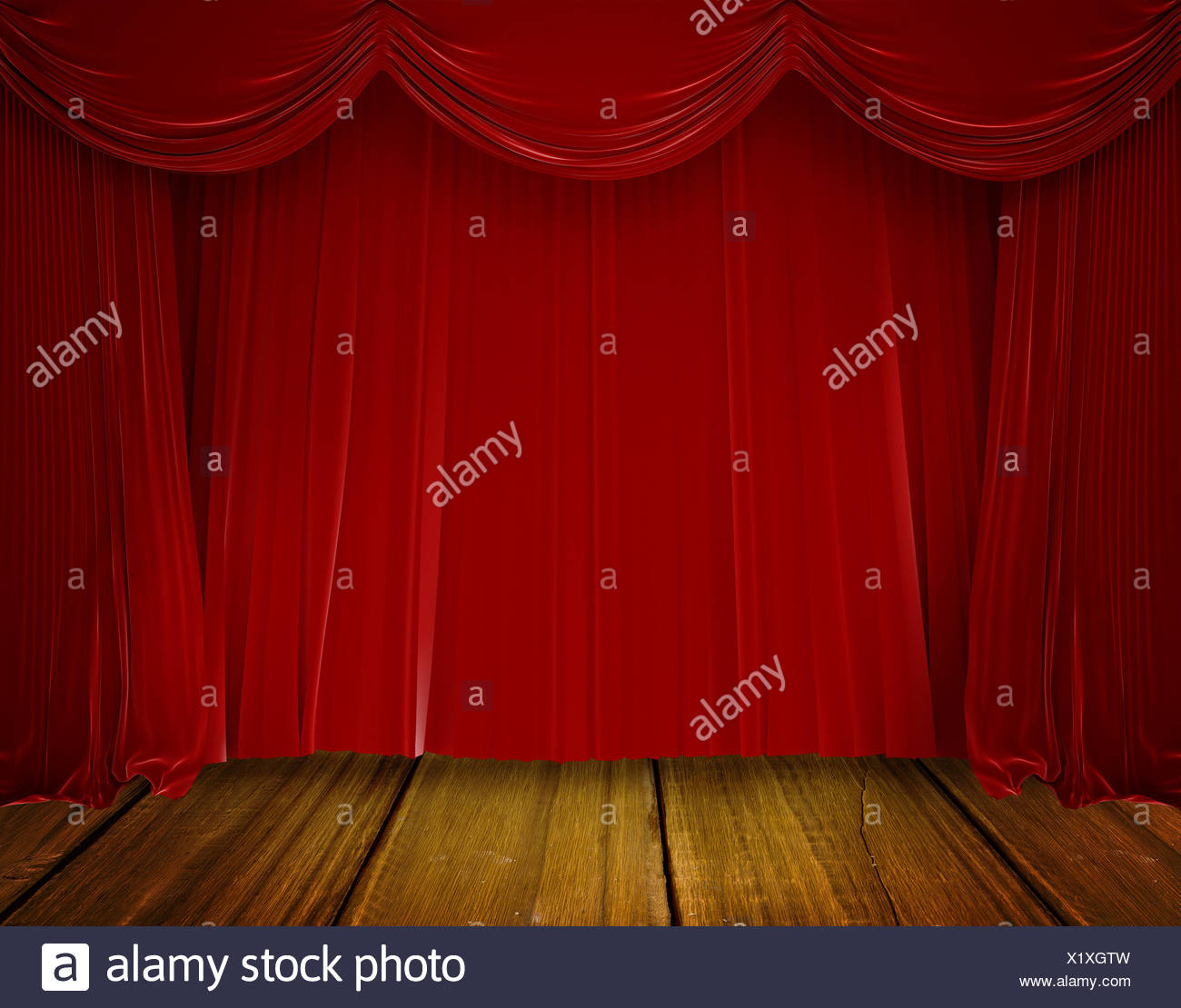 Red curtain pulling back - Stock Image