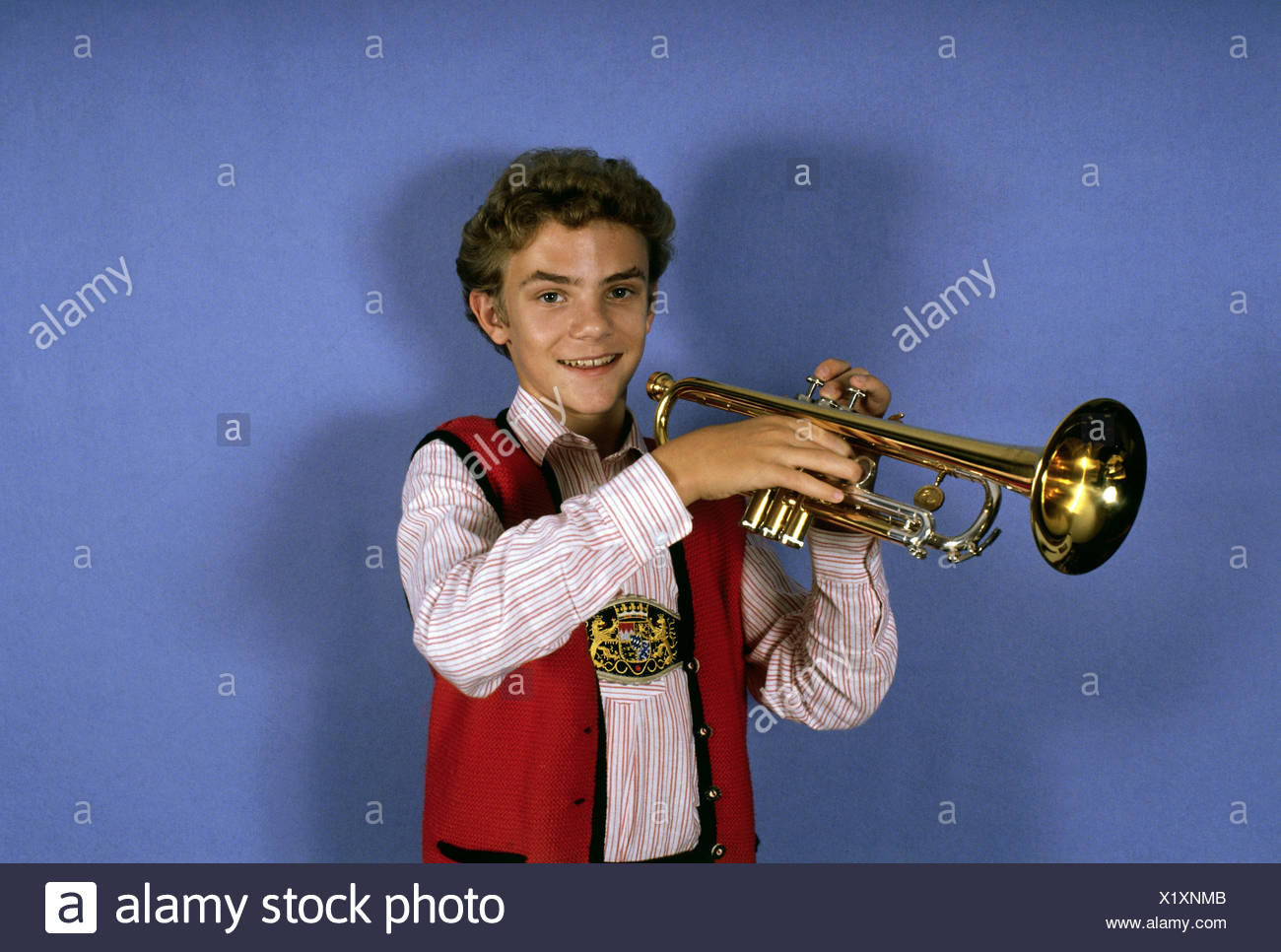 Mross Stefan, * 26.11.1975, German musician (rumpeter), winner of the Folk Music Grand Prix, 1989, , Additional-Rights-Clearances-NA - Stock Image
