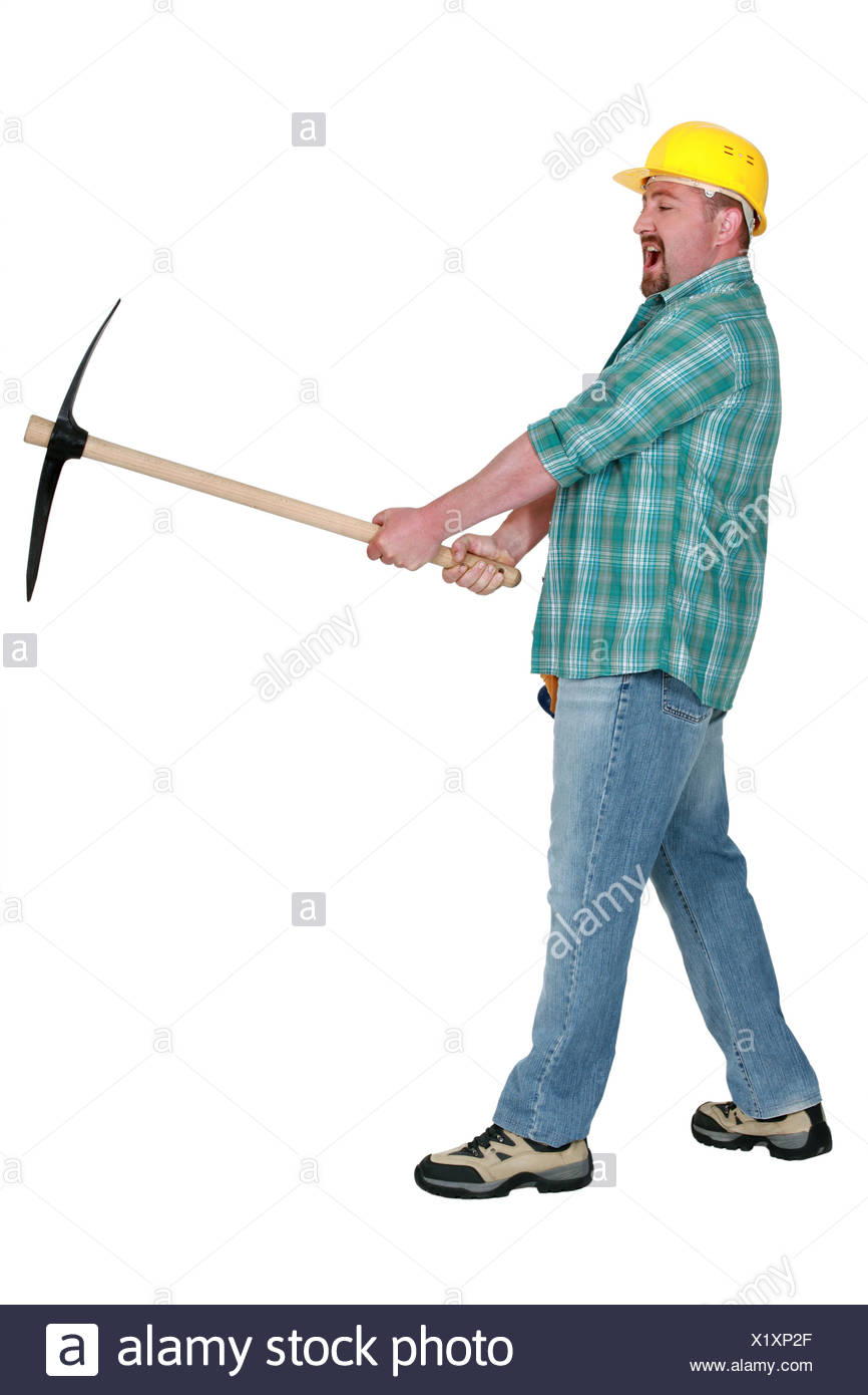 Angry man with pick-axe - Stock Image