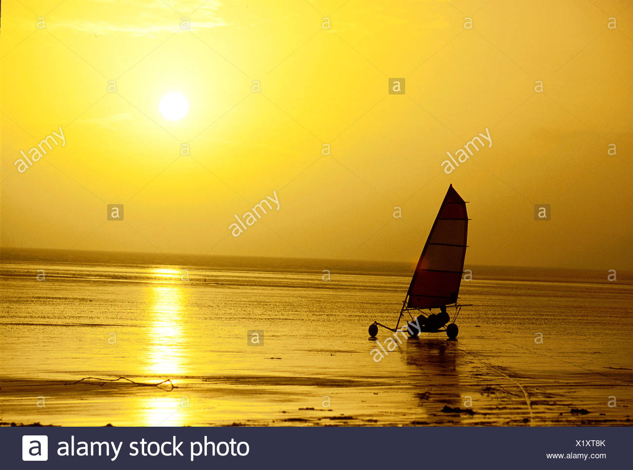 Land Yachting at sunset, view sea - Stock Image