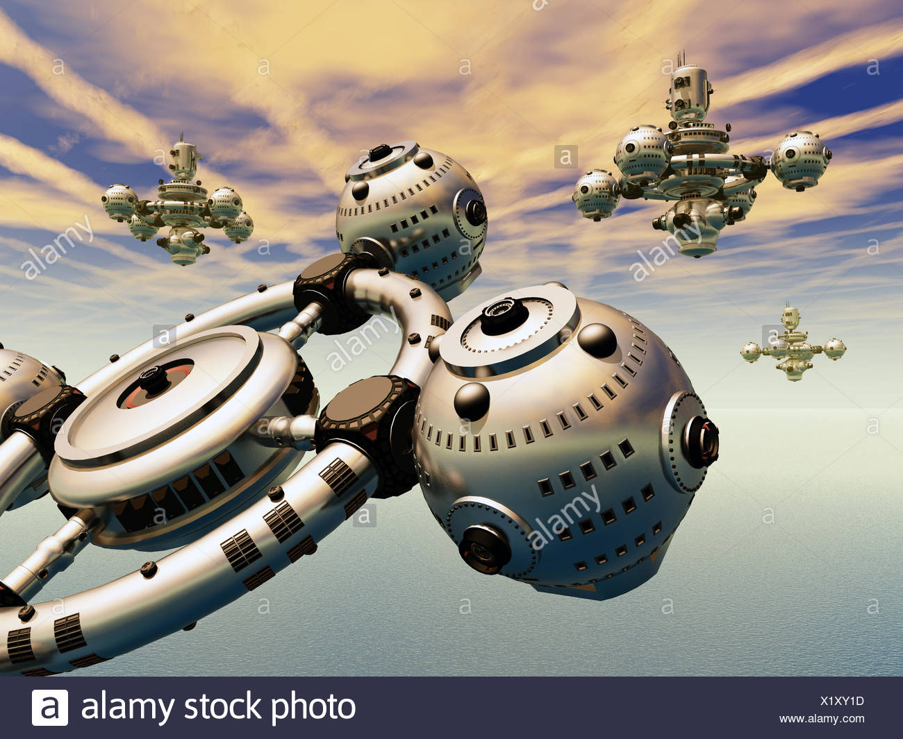 Earth Atmosphere with Alien Spacecrafts - Stock Image