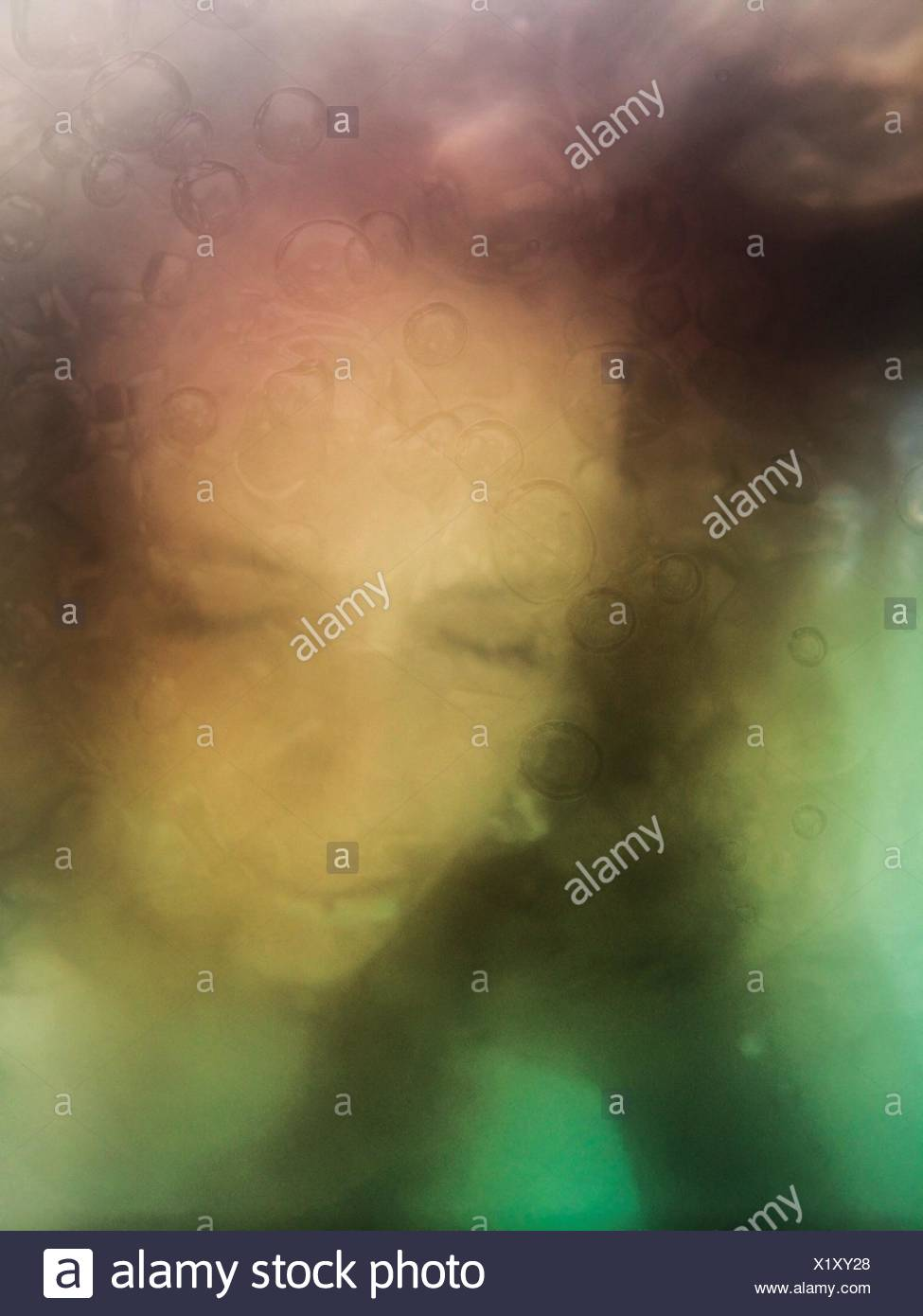 Creative Selfie With Underwater Effect - Stock Image