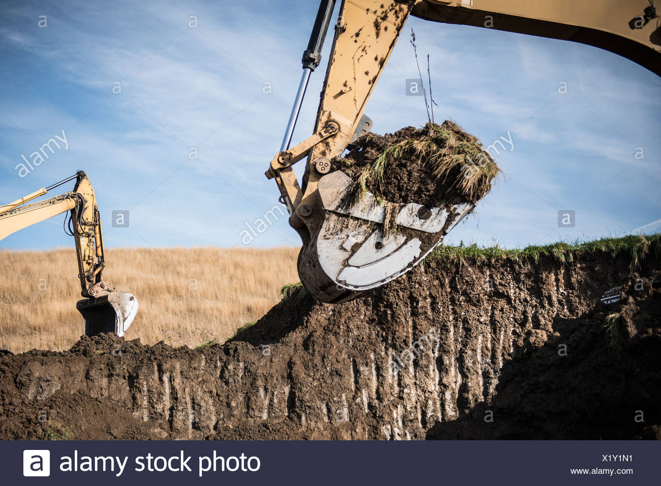 Excavator working at surface coal mine Stock Photo