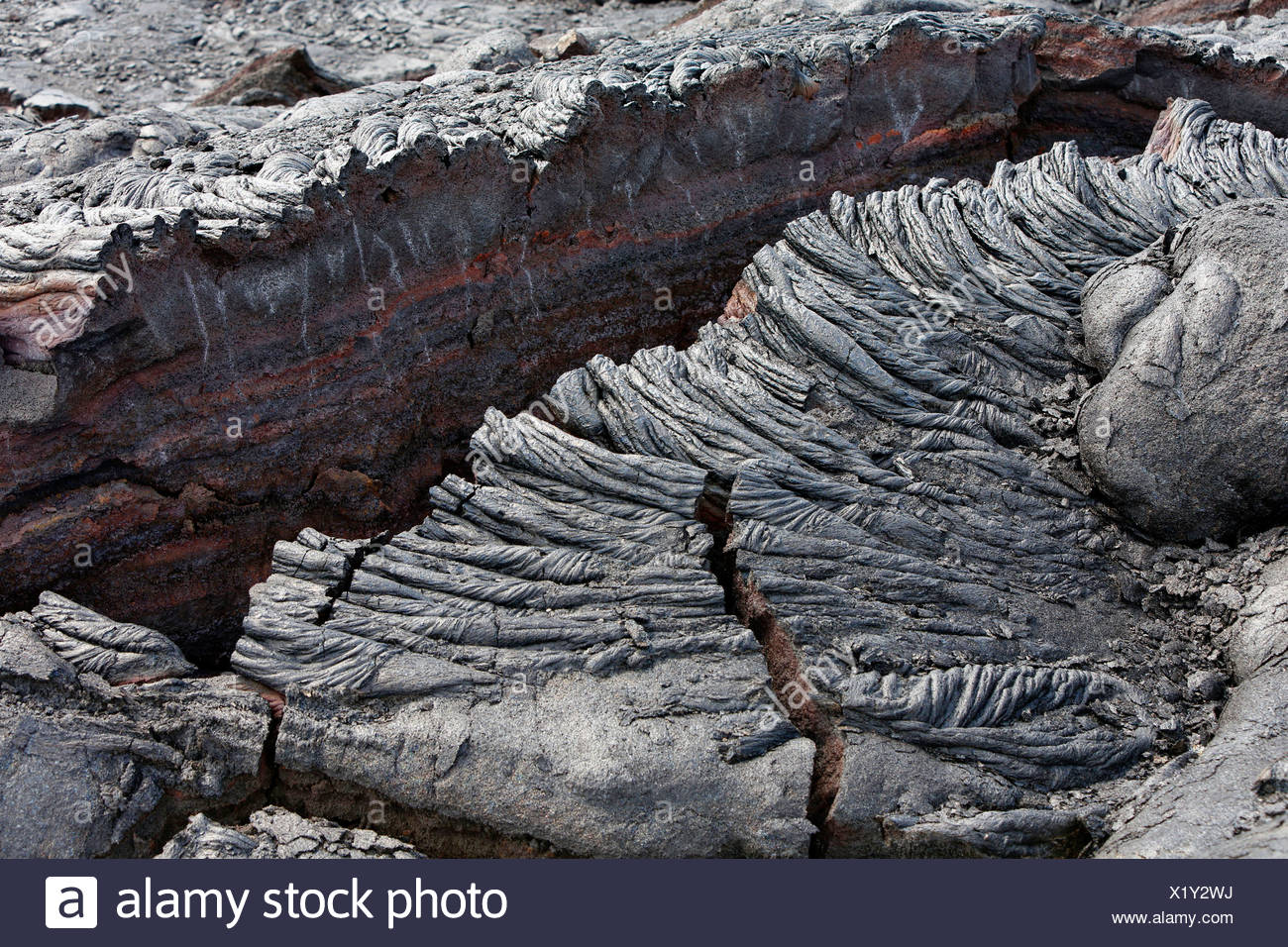 Pahoehoe lava, detail view, East Rift Zone, Kilauea volcano, Big Island, Hawaii, USA - Stock Image