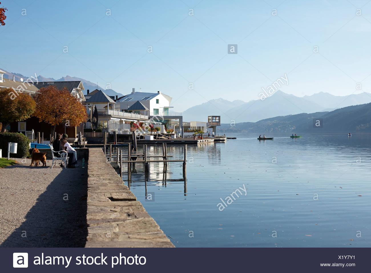 Autumn day in Millstatt on Millstaetter See, Lake Millstatt, Carinthia, Austria, Europe - Stock Image