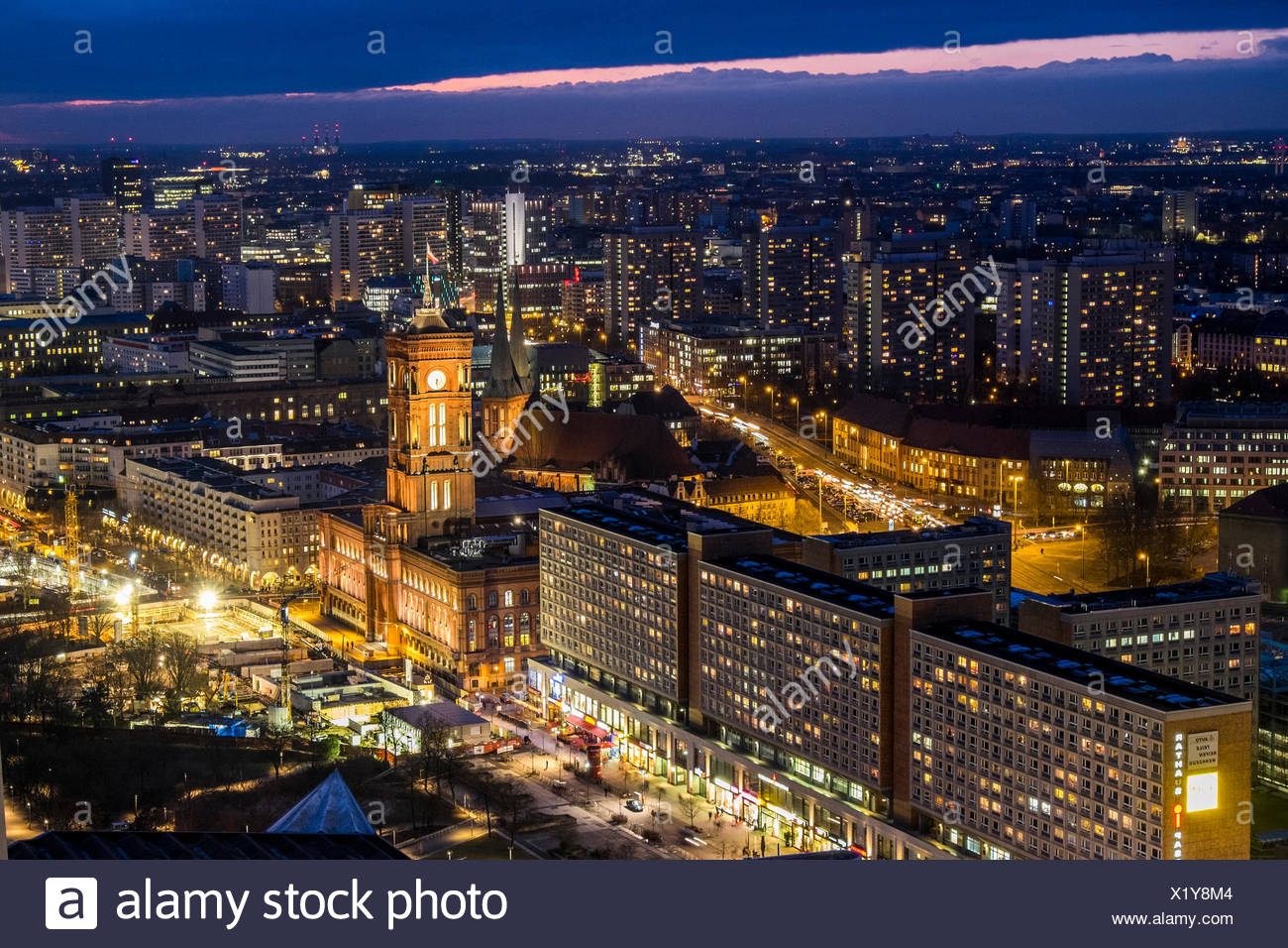 view at sunset towards the townhall, Rotes Rathaus, Berlin Germany - Stock Image