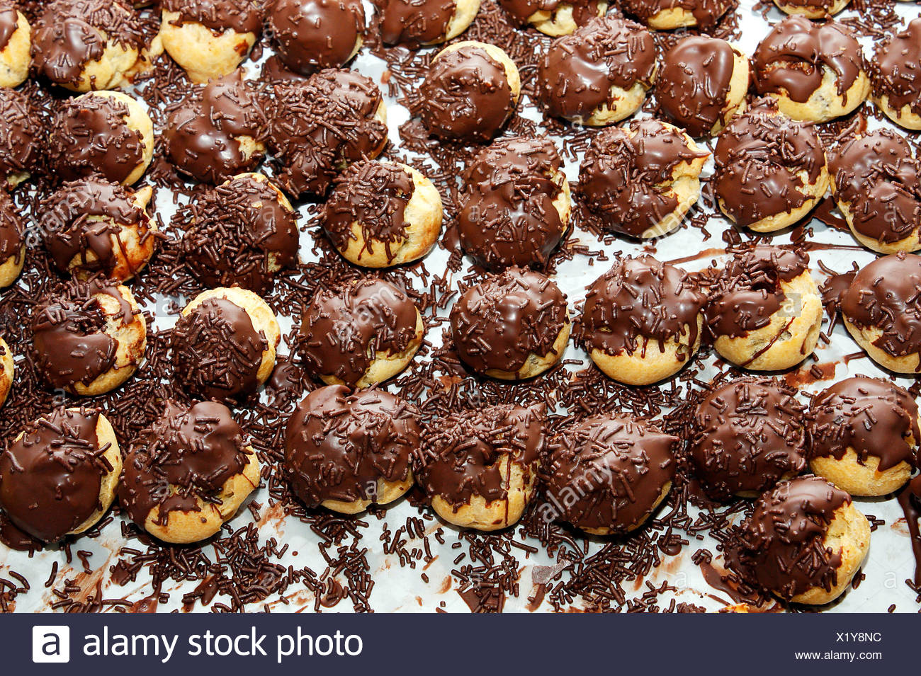 chocolate Choux pastry - Stock Image