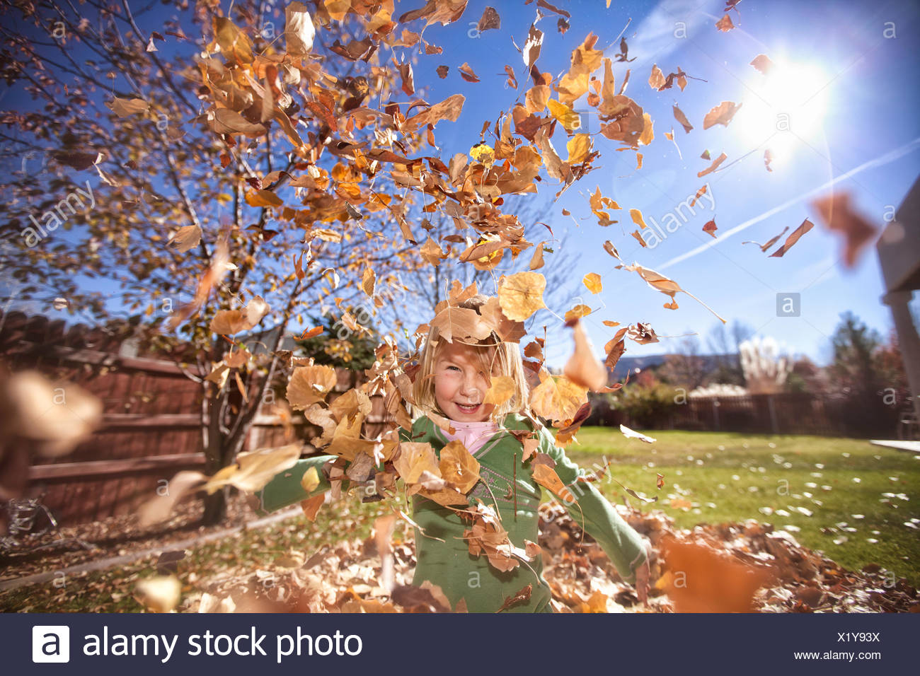Girl throwing autumn leaves in the air - Stock Image