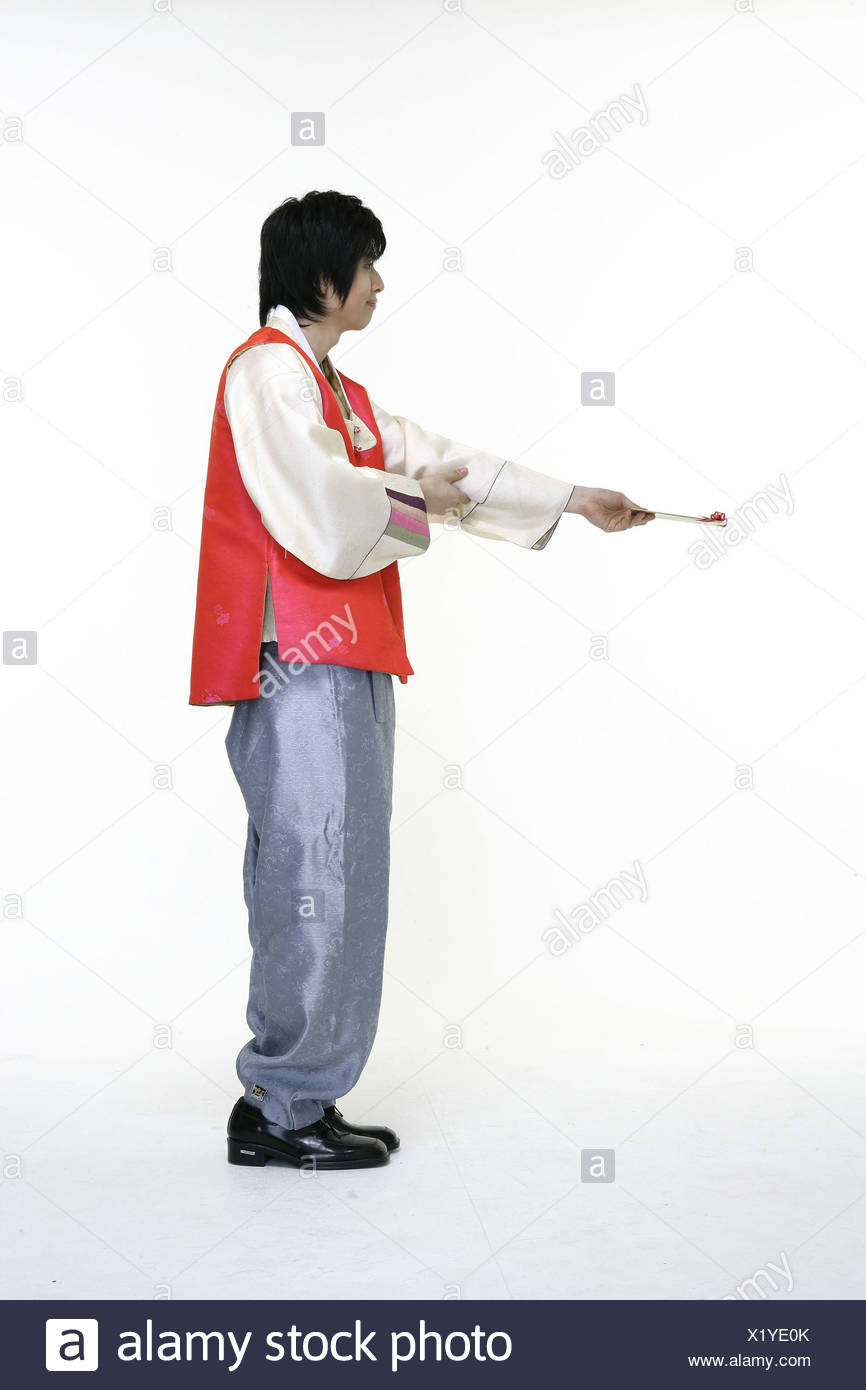 Young Man in Traditional Korean, Dress - Stock Image